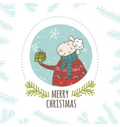 Christmas greeting card sheep with gift round vector