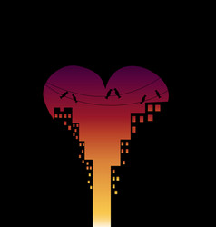 City in love day at sunset with buildings and vector