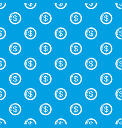 coin pattern seamless blue vector image