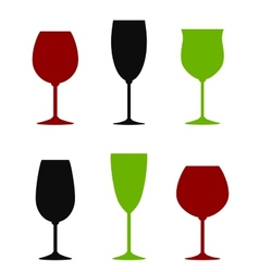 colorful wine glasses set vector image