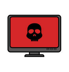 Computer desktop with skull isolated icon vector