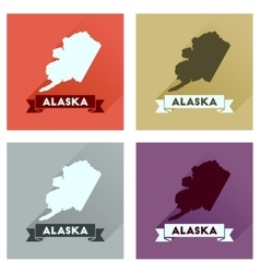 Concept of flat icons with long shadow Alaska map vector