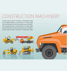 construction equipment and machinery poster vector image
