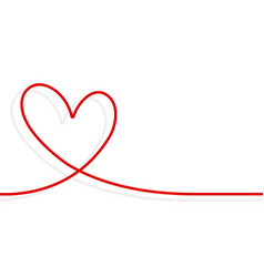 continuous line heart shape border with realistic vector image