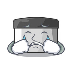 Crying pastry scraper on wooden mascot table vector