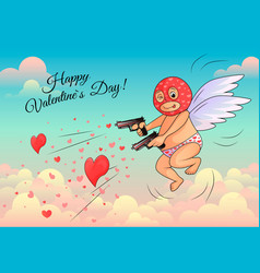 cupid in a mask shoots hearts from pistols vector image