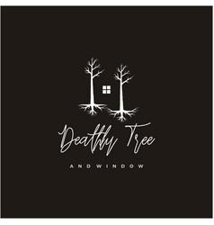dark house window and dead tree logo design vector image