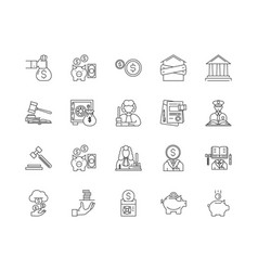 debt collector line icons signs set vector image