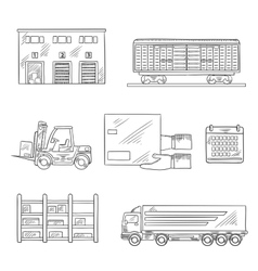 delivery and storage service sketch icons vector image