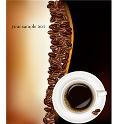 Desing with cup of coffee and beans on black vector