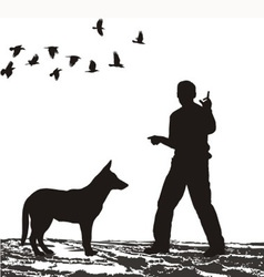 Dog Training in the field vector image