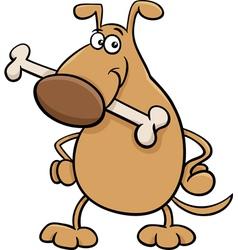 Dog with bone cartoon vector