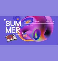 Electronic music fest summer wave poster club vector