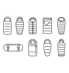 Fabric sleeping bag icons set outline style vector
