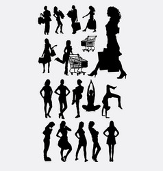 female people shopping and sport silhouettes vector image