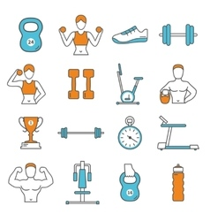Fitness Flat Color Line Icons Set vector image