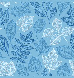 Floral pattern hand-drawn decorative leaves vector