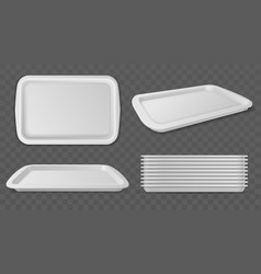 Food trays realistic plastic white salvers vector