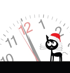 funny and sweet cat with clock vector image