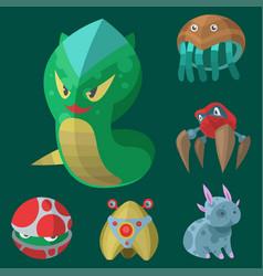 Funny cartoon monster cute alien character vector