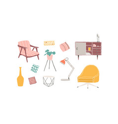 furniture pieces hand drawn vector image