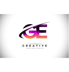 Ge g e grunge letter logo with purple vibrant vector