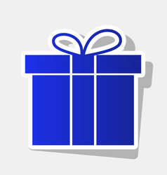gift box sign new year bluish icon with vector image
