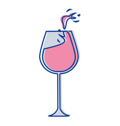 Glass splashing wine icon vector