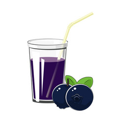 glass with blueberries juice vector image