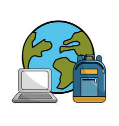 Global planet with laptop and backpack tool vector