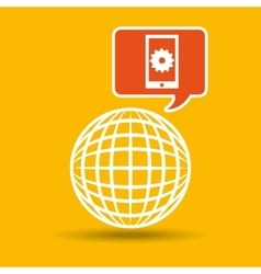 Global web network cellphone gear icon vector