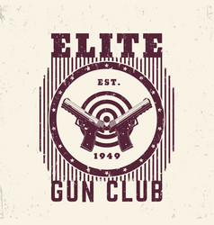 Gun club vintage emblem print with pistols vector