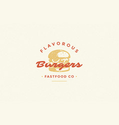 hand drawn logo burger silhouette and modern vector image