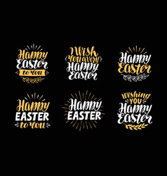 Happy easter greeting card holiday label symbol vector