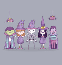 happy halloween celebration girls and boy costumes vector image