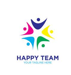 happy team logo designs icon modern vector image