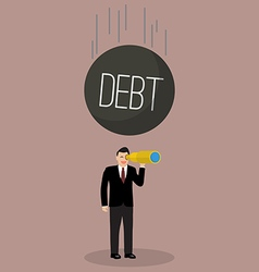 Heavy debt falling to careless businessman vector