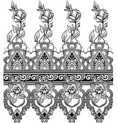 indian line art seamless border with flowers vector image