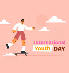 International youth day horizontal banner template vector