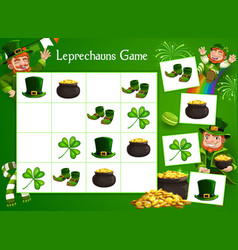 Kids game riddle with cartoon leprechauns vector