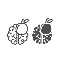 knowledge line and glyph icon brain and apple vector image