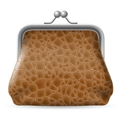 Leather purse on white background for design vector