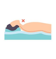 Man lying on his back incorrect sleeping posture vector