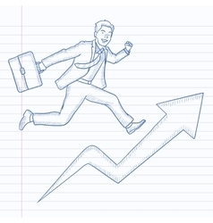 Man running on arrow going upwards vector image