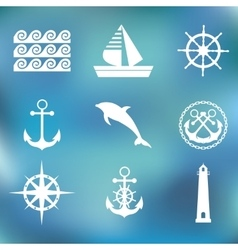 Marine set symbols vector
