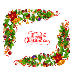 merry christmas frame decoration vector image
