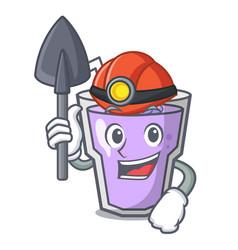 Miner berry smoothie mascot cartoon vector