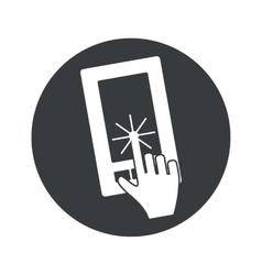 Monochrome round touchscreen icon vector image