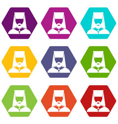 orthodox priest icon set color hexahedron vector image