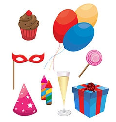 Party and Celebration Icons with White Background vector